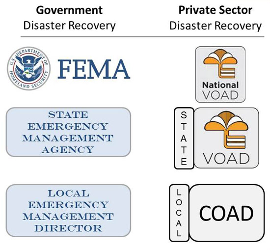 Chart showing government vs. private sector organization